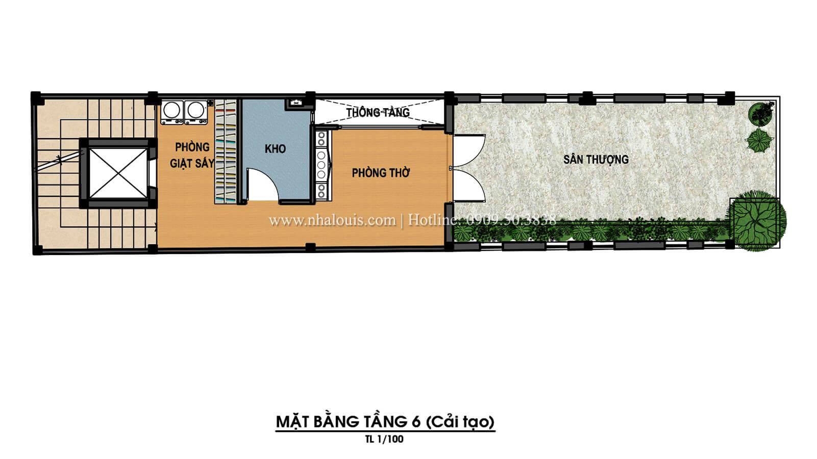 Mặt bằng tầng 6 Thiết kế cải tạo nhà 6 tầng đẹp không ngờ tại Quận 6 - 10