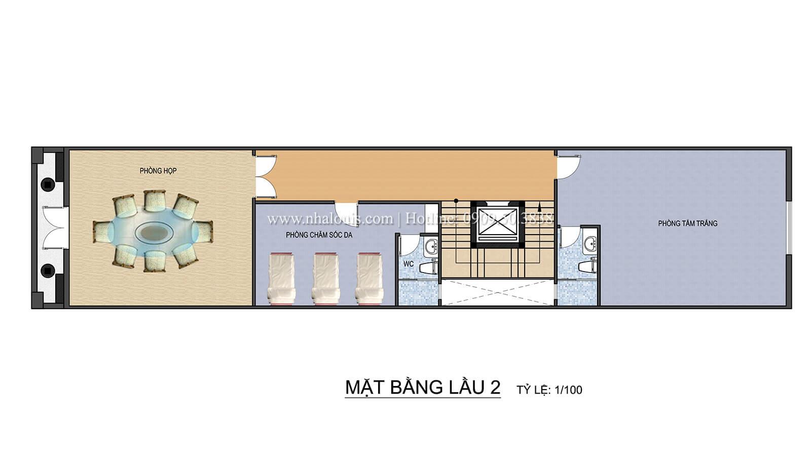 Mặt bằng tầng 2 Thiết kế spa đẹp lung linh tại Cần Thơ theo phong cách tân cổ điển - 08
