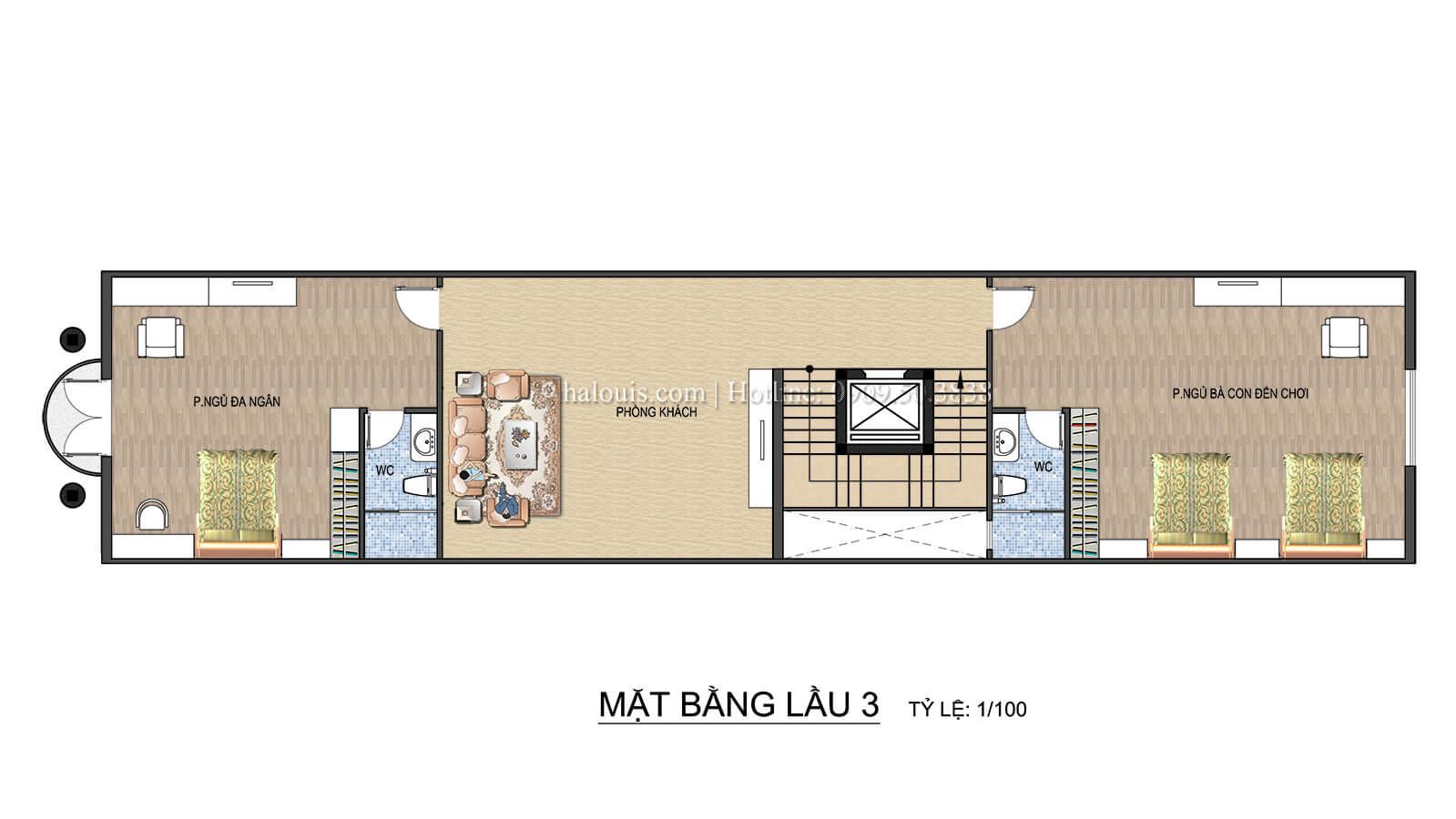 Mặt bằng tầng 3 Thiết kế spa đẹp lung linh tại Cần Thơ theo phong cách tân cổ điển - 09