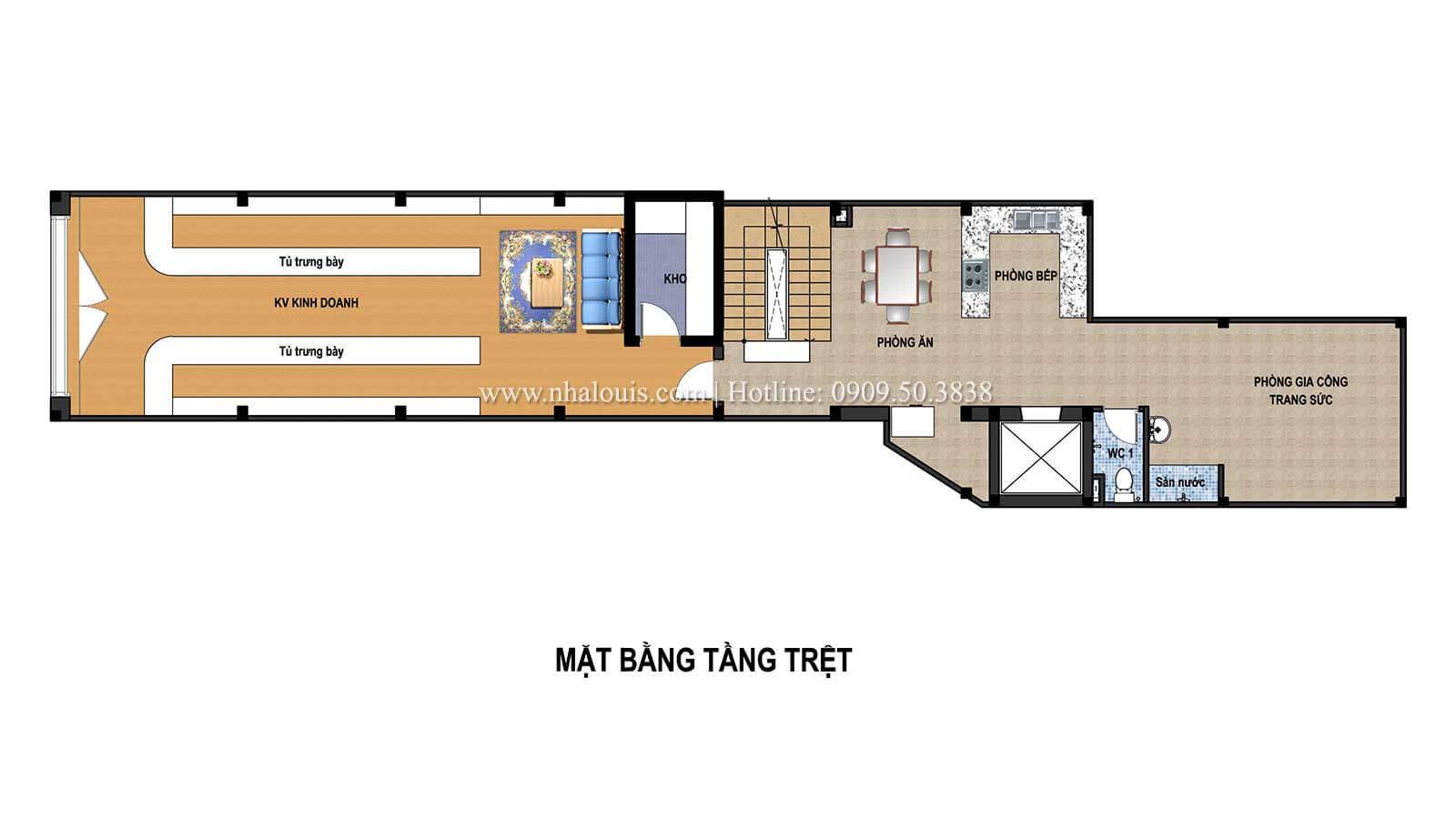 Mặt bằng tầng trệt Thiết kế tiệm vàng tại Nhà Bè chuẩn sang trọng với phong cách tân cổ điển - 03