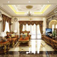 Bật mí bí quyết nới rộng phòng khách biệt thự 1 tầng mái thái bằng màu sắc
