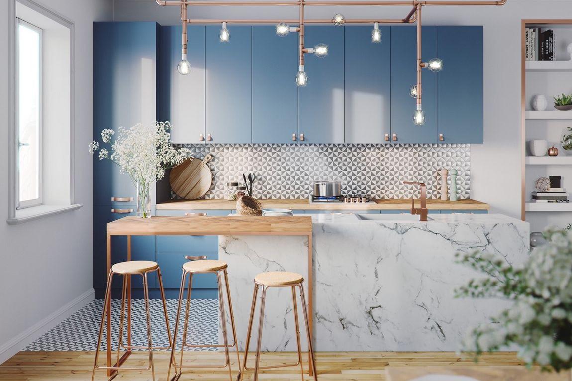 Hé lộ 9 mẫu tủ bếp hiện đại đẹp tông màu xanh đốn tim triệu người 01