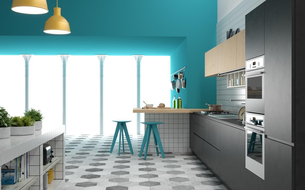 Hé lộ 9 mẫu tủ bếp hiện đại đẹp tông màu xanh đốn tim triệu người 02