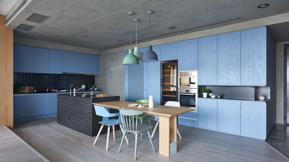 Hé lộ 9 mẫu tủ bếp hiện đại đẹp tông màu xanh đốn tim triệu người 04