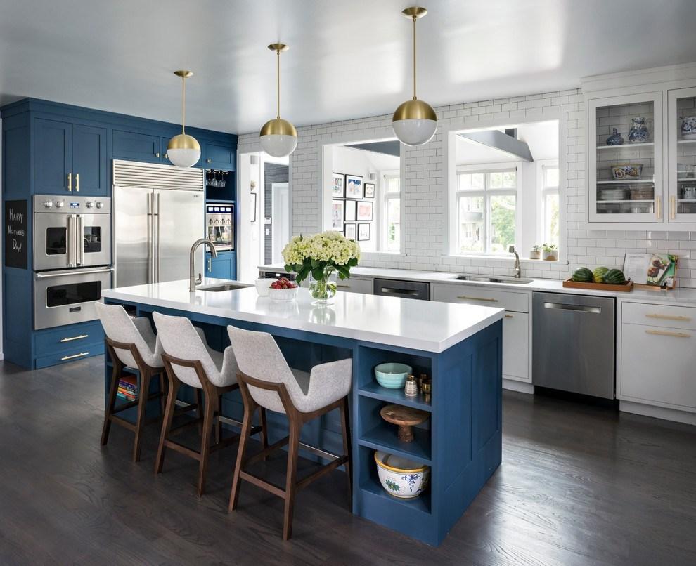 Hé lộ 9 mẫu tủ bếp hiện đại đẹp tông màu xanh đốn tim triệu người 06
