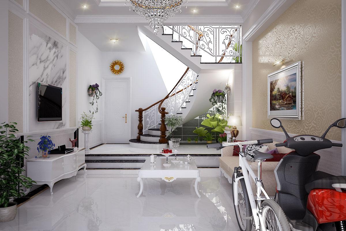 Mẫu phòng khách đẹp có cầu thang tiện nghi và sang trọng 01
