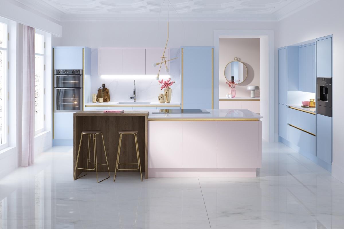 Xiêu lòng với 6 mẫu phòng bếp hiện đại đẹp phối màu pastel nhã nhặn