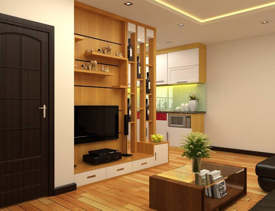 xây vách ngăn phòng khách và bếp